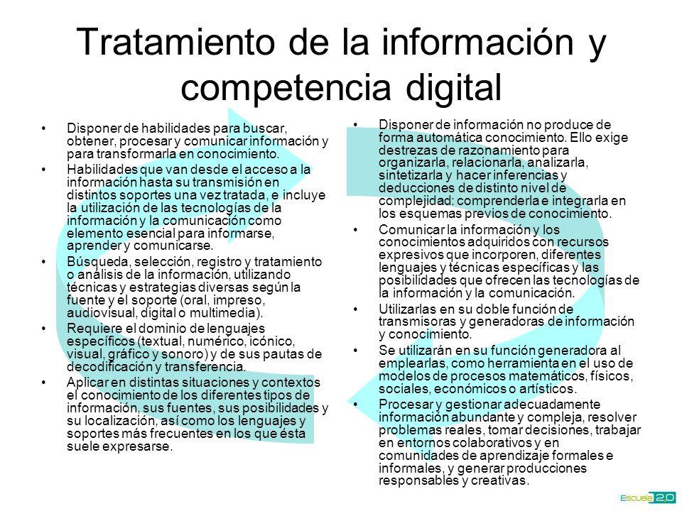 Tratamiento de la información y competencia digital Utilizar las TIC a su máximo rendimiento a partir de la comprensión de la naturaleza y modo de operar de los sistemas tecnológicos, y del efecto de los cambios en el mundo personal y sociolaboral.