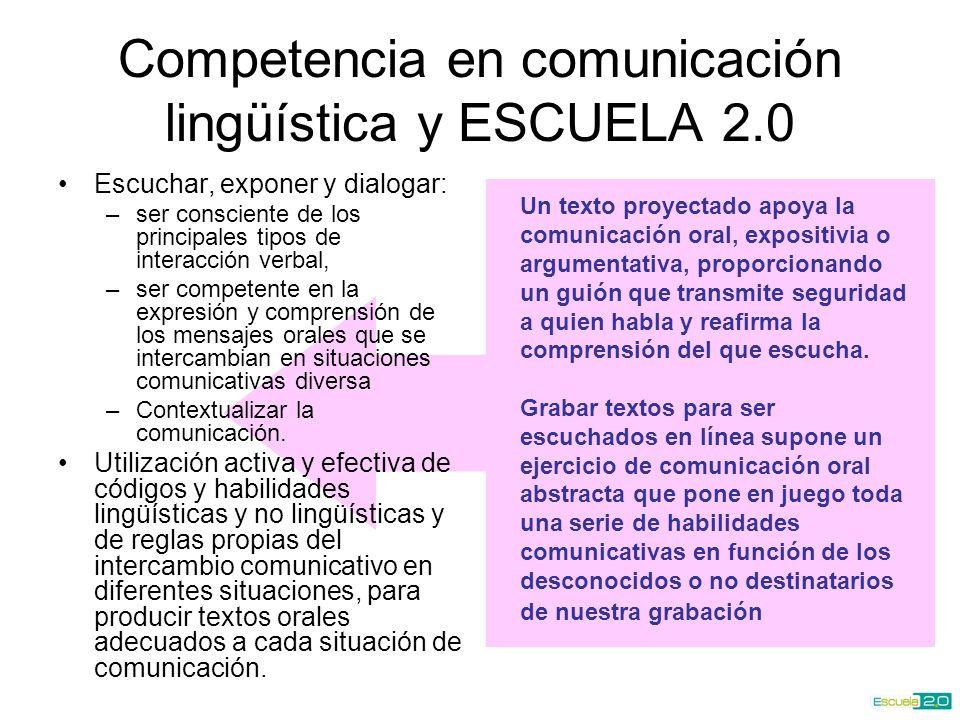 Competencia en comunicación lingüística y ESCUELA 2.0 Escuchar, exponer y dialogar: –ser consciente de los principales tipos de interacción verbal, –ser competente en la expresión y comprensión de los mensajes orales que se intercambian en situaciones comunicativas diversa –Contextualizar la comunicación.