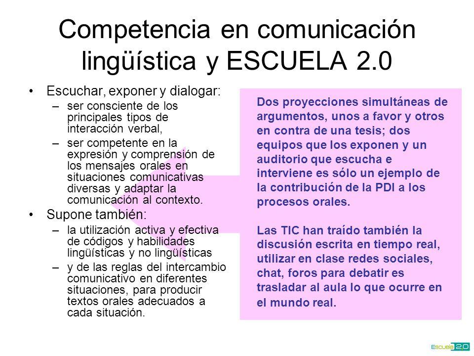 Competencia en comunicación lingüística y ESCUELA 2.0 Escuchar, exponer y dialogar: –ser consciente de los principales tipos de interacción verbal, –ser competente en la expresión y comprensión de los mensajes orales en situaciones comunicativas diversas y adaptar la comunicación al contexto.