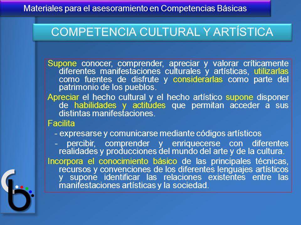 Materiales para el asesoramiento en Competencias Básicas Supone conocer, comprender, apreciar y valorar críticamente diferentes manifestaciones cultur