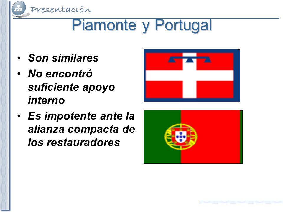 Piamonte y Portugal Son similares No encontró suficiente apoyo interno Es impotente ante la alianza compacta de los restauradores