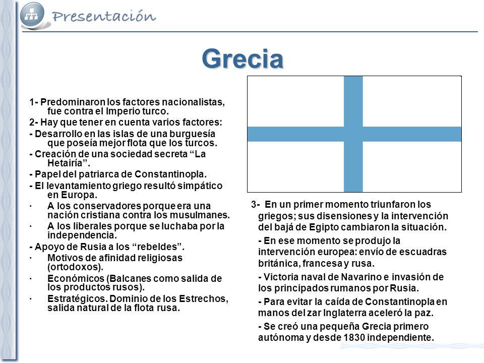 Grecia 1- Predominaron los factores nacionalistas, fue contra el Imperio turco. 2- Hay que tener en cuenta varios factores: - Desarrollo en las islas