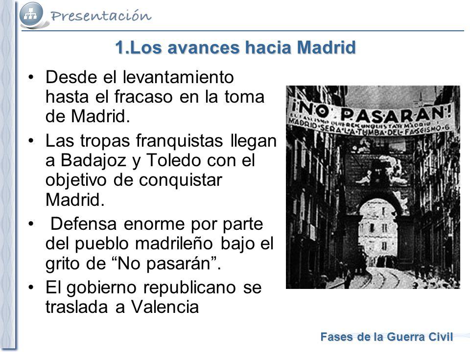 Fases de la Guerra Civil 1.Los avances hacia Madrid Desde el levantamiento hasta el fracaso en la toma de Madrid. Las tropas franquistas llegan a Bada