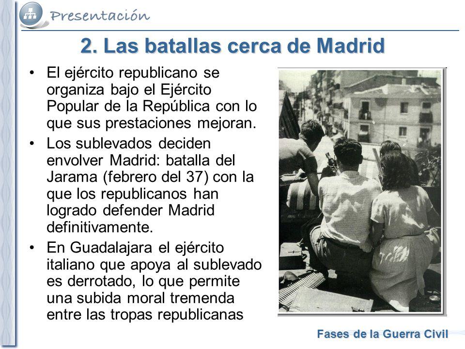 Fases de la Guerra Civil 2. Las batallas cerca de Madrid El ejército republicano se organiza bajo el Ejército Popular de la República con lo que sus p
