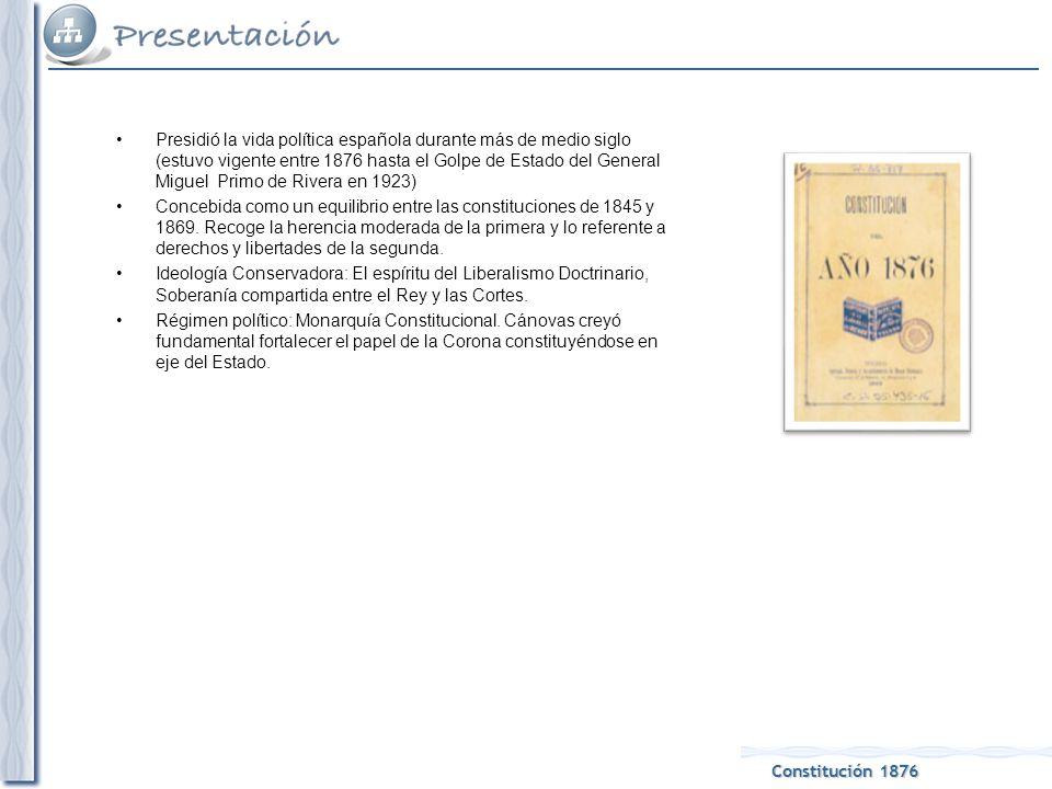 Constitución 1876 Presidió la vida política española durante más de medio siglo (estuvo vigente entre 1876 hasta el Golpe de Estado del General Miguel