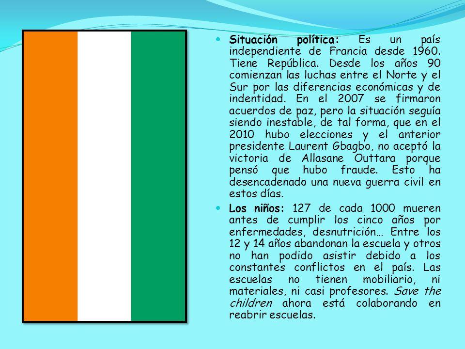 Situación política: Es un país independiente de Francia desde 1960.