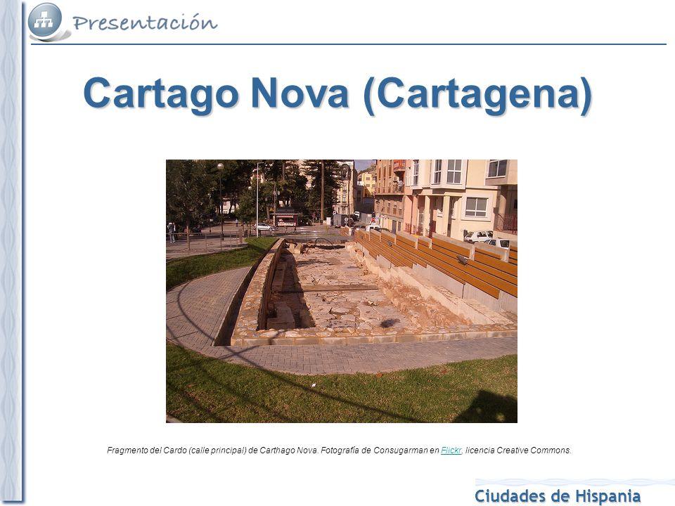 Ciudades de Hispania Fragmento del Cardo (calle principal) de Carthago Nova. Fotografía de Consugarman en Flickr, licencia Creative Commons.Flickr Car