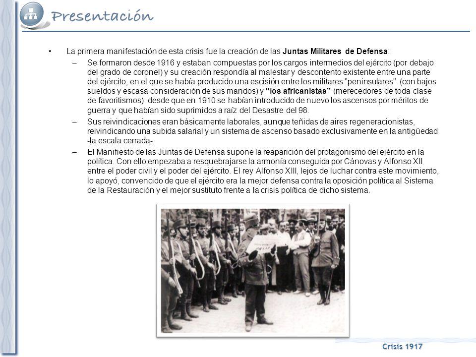 Crisis 1917 La Asamblea de Parlamentarios fue el segundo capítulo de la crisis de 1917: –Se trató de una especie de parlamento alternativo a las Cortes, reunido en Barcelona, por iniciativa de Cambó y la Lliga Regionalista, pero que pretendía unir a toda la oposición política al Sistema de la Restauración (republicanos, nacionalistas y socialistas).