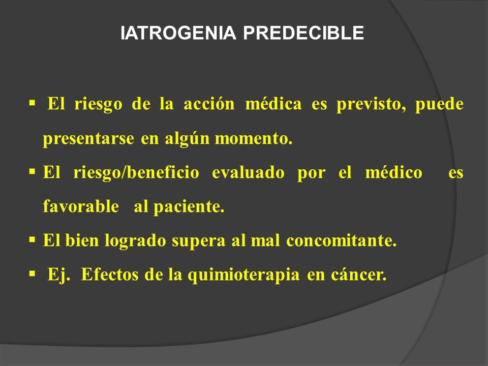 IATROGENIA PREDECIBLE El riesgo de la acción médica es previsto, puede presentarse en algún momento.