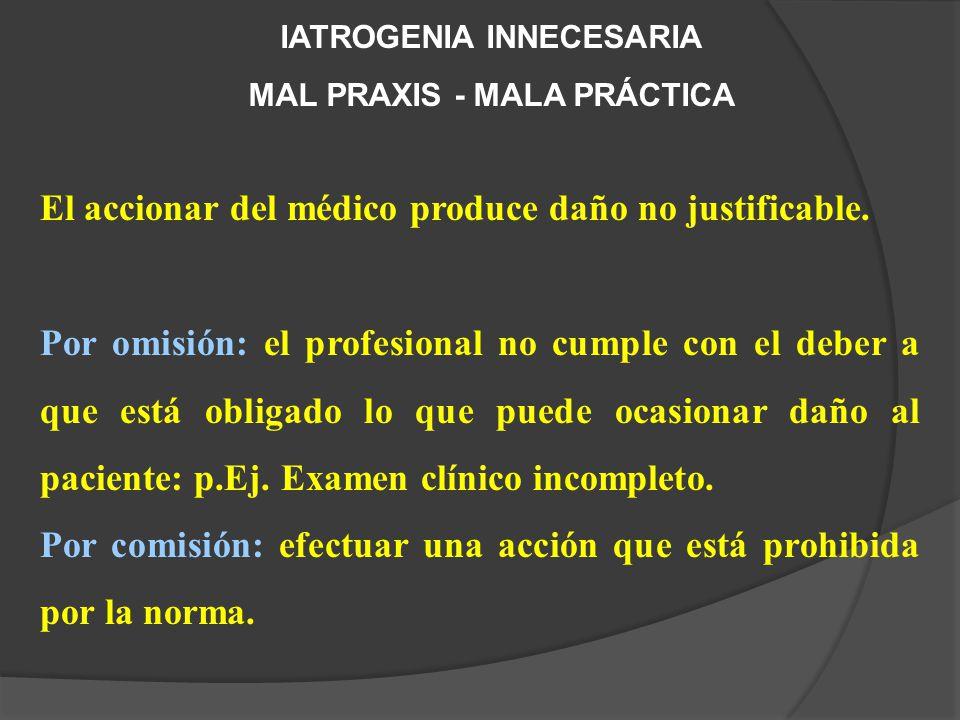 IATROGENIA INNECESARIA MAL PRAXIS - MALA PRÁCTICA El accionar del médico produce daño no justificable.