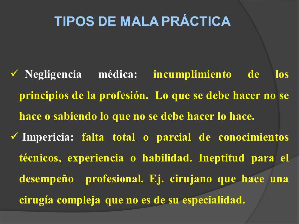 TIPOS DE MALA PRÁCTICA Negligencia médica: incumplimiento de los principios de la profesión.