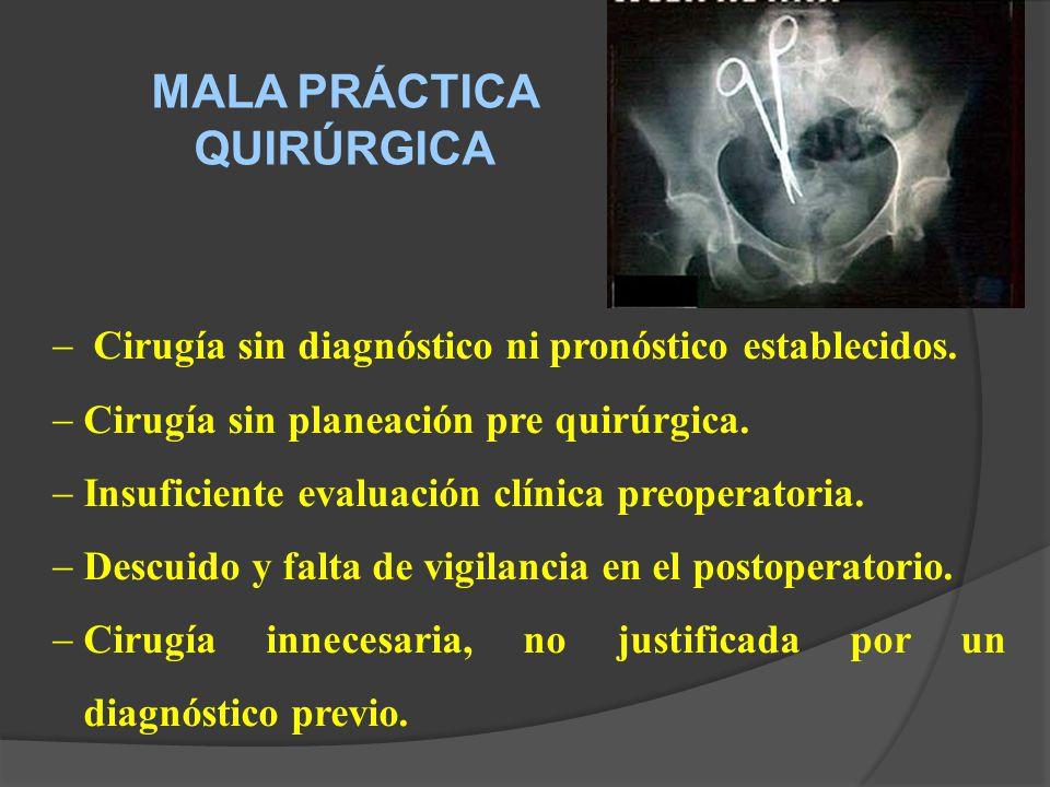 MALA PRÁCTICA QUIRÚRGICA Cirugía sin diagnóstico ni pronóstico establecidos.