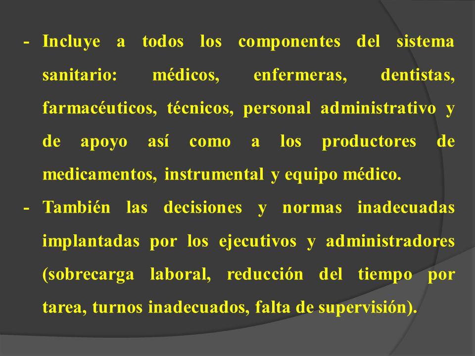 -Incluye a todos los componentes del sistema sanitario: médicos, enfermeras, dentistas, farmacéuticos, técnicos, personal administrativo y de apoyo así como a los productores de medicamentos, instrumental y equipo médico.