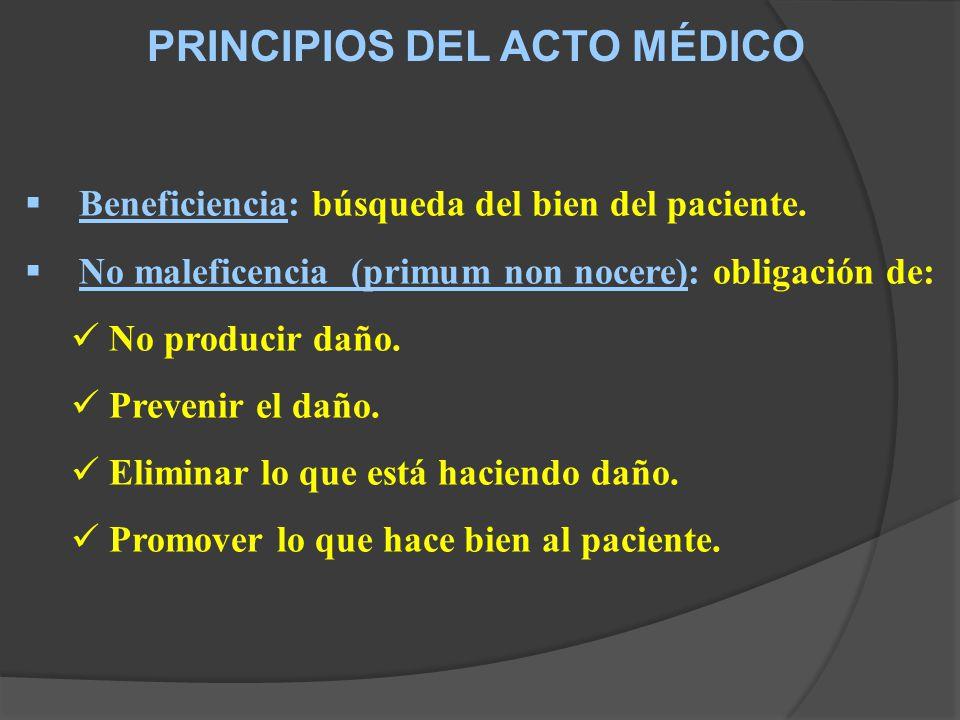 PRINCIPIOS DEL ACTO MÉDICO Beneficiencia: búsqueda del bien del paciente.