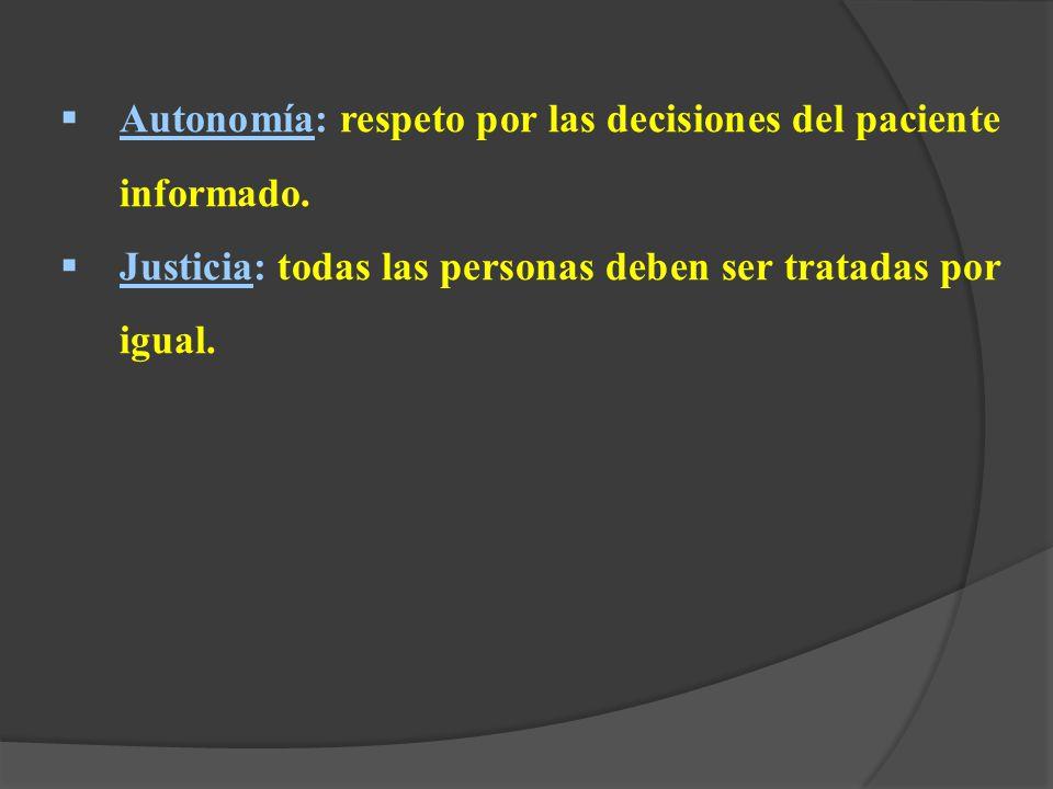 Autonomía: respeto por las decisiones del paciente informado.