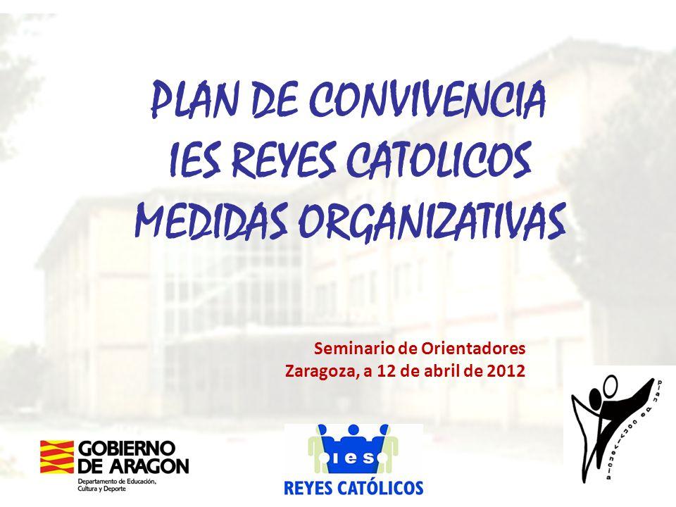 PLAN DE CONVIVENCIA IES REYES CATOLICOS MEDIDAS ORGANIZATIVAS Seminario de Orientadores Zaragoza, a 12 de abril de 2012