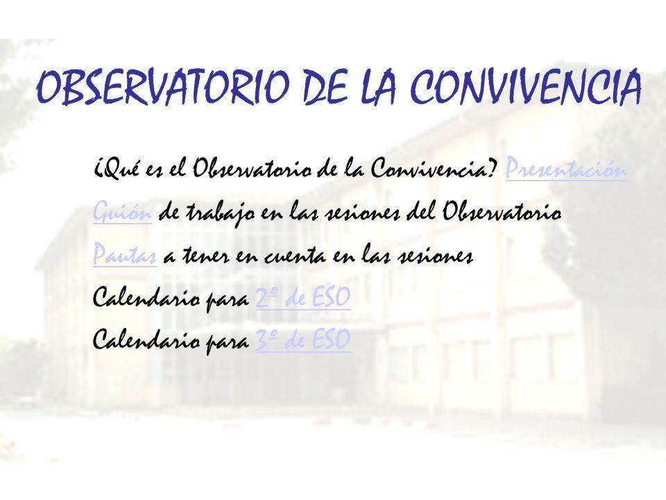 OBSERVATORIO DE LA CONVIVENCIA ¿Qué es el Observatorio de la Convivencia? PresentaciónPresentación GuiónGuión de trabajo en las sesiones del Observato