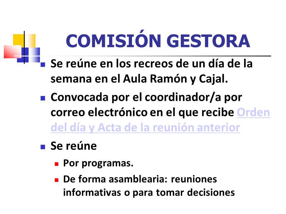 COMISIÓN GESTORA Se reúne en los recreos de un día de la semana en el Aula Ramón y Cajal. Convocada por el coordinador/a por correo electrónico en el