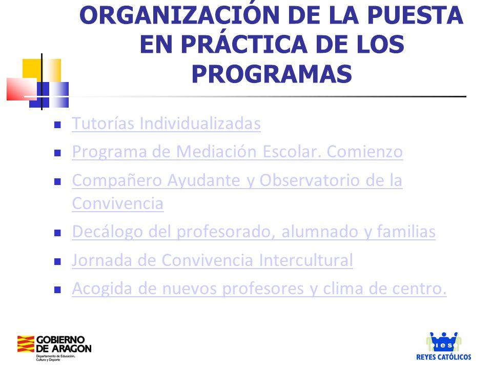 Tutorías Individualizadas Programa de Mediación Escolar. Comienzo Compañero Ayudante y Observatorio de la Convivencia Compañero Ayudante y Observatori
