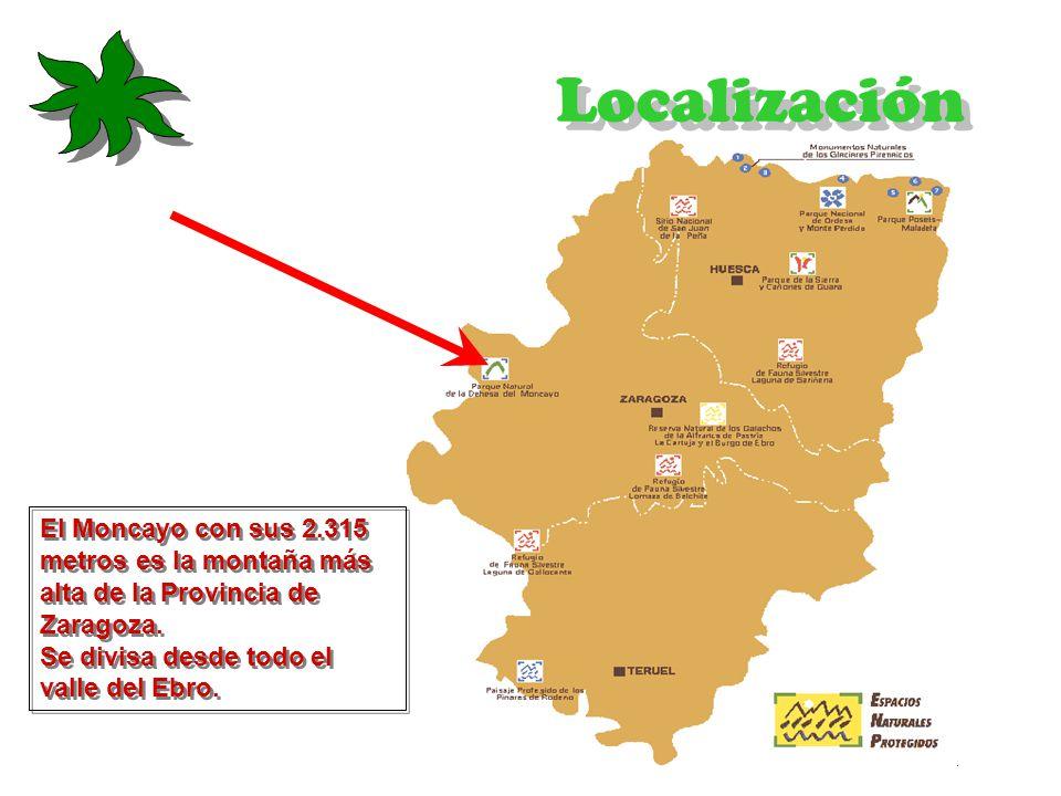 Localización El Moncayo con sus 2.315 metros es la montaña más alta de la Provincia de Zaragoza.