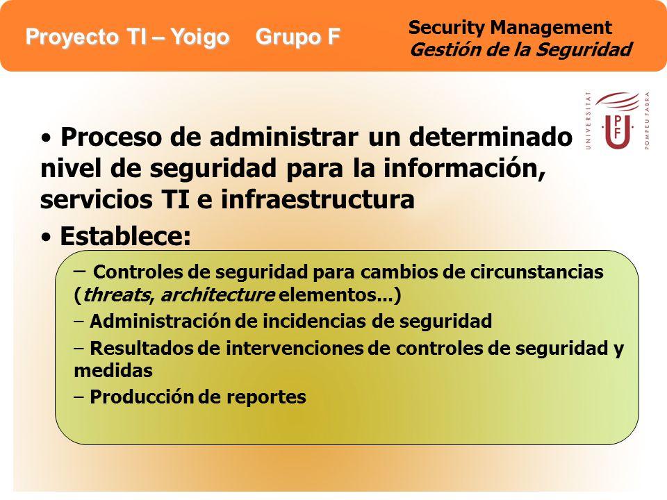 Proyecto TI – Yoigo Grupo F Security Management Gestión de la Seguridad Corporate executive management responsable de definirla.
