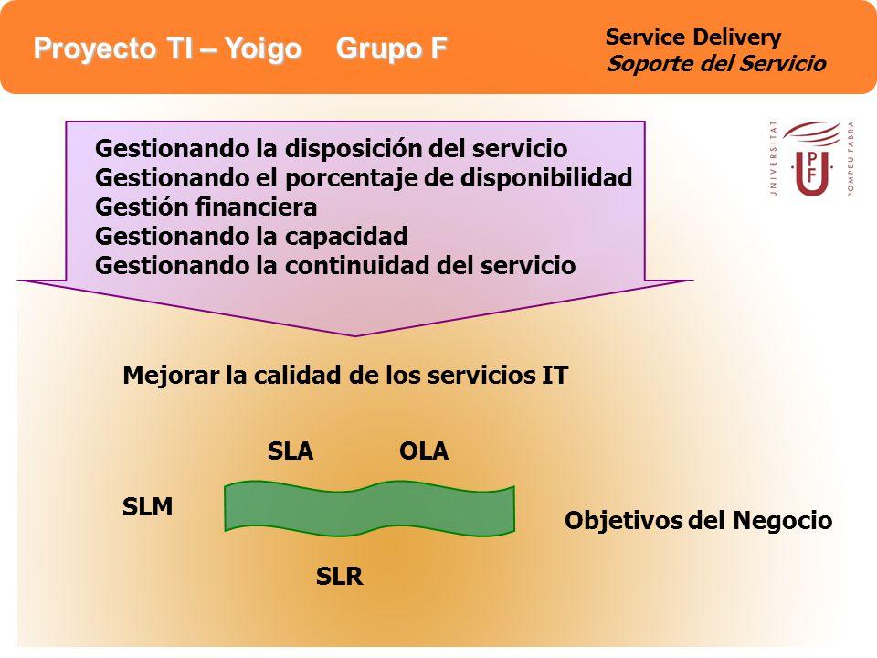Proyecto TI – Yoigo Grupo F Interfaz Service Level Management (SLM) Negocia, documenta, acuerda y repasa requisitos del servicio de negocio con los Service Level Requirements (SLRs) y los Service Level Agreements (SLAs) Negocia y acuerda los objetivos de soporte contenidos en los Operational Level Agreements (OLAs) Produce y mantiene el catalogo de servicio que da la información de los servicios IT proporcionados Desarrollo y gestión del Service Improvement Programme (SIP) y del Continuous Service Improvement Programme CSIP que es el plan de mejora de la calidad de servicios IT Service Delivery Soporte del Servicio