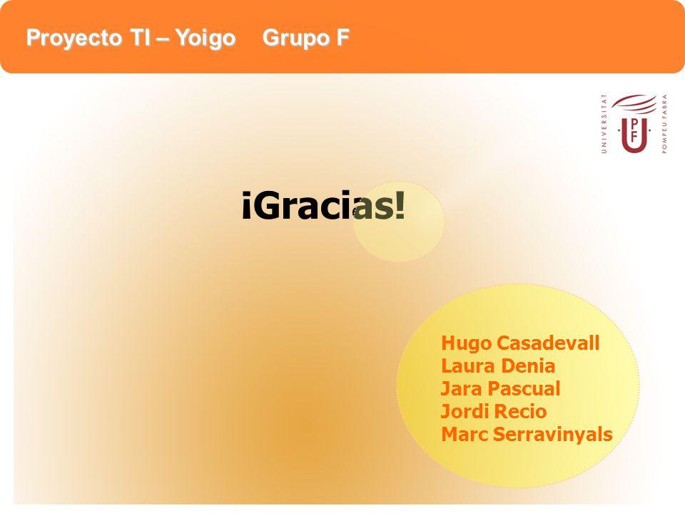 Proyecto TI – Yoigo Grupo F Hugo Casadevall Laura Denia Jara Pascual Jordi Recio Marc Serravinyals ¡Gracias!