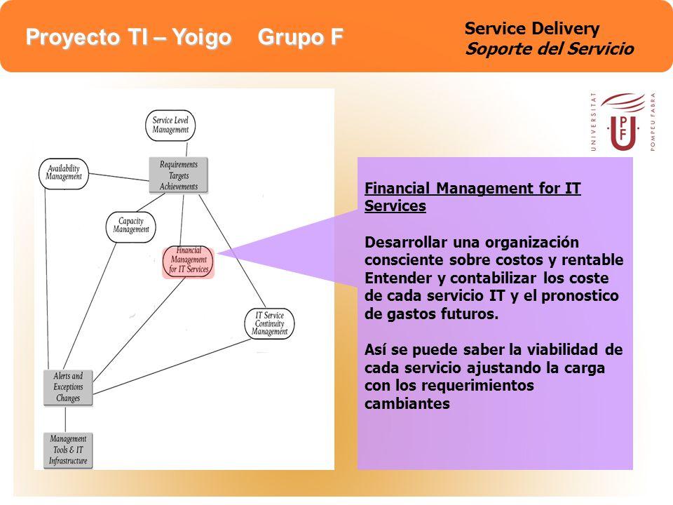 Proyecto TI – Yoigo Grupo F Service Delivery Soporte del Servicio Financial Management for IT Services Desarrollar una organización consciente sobre c