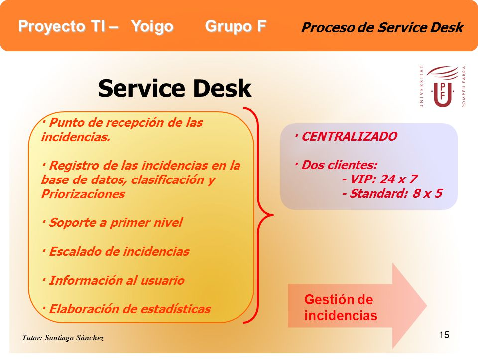 Proyecto TI – Yoigo Grupo F Tutor: Santiago Sánchez 15 Proceso de Service Desk Service Desk · Punto de recepción de las incidencias. · Registro de las