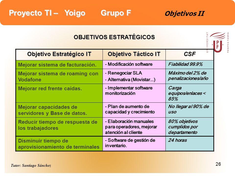 Proyecto TI – Yoigo Grupo F Tutor: Santiago Sánchez 26 Objetivos II OBJETIVOS ESTRATÉGICOS Objetivo Estratégico IT Objetivo Táctico IT CSF Mejorar sis