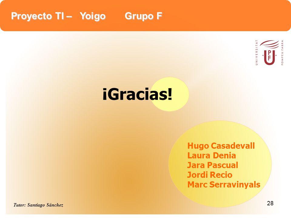 Proyecto TI – Yoigo Grupo F Tutor: Santiago Sánchez 28 Hugo Casadevall Laura Denia Jara Pascual Jordi Recio Marc Serravinyals ¡Gracias!