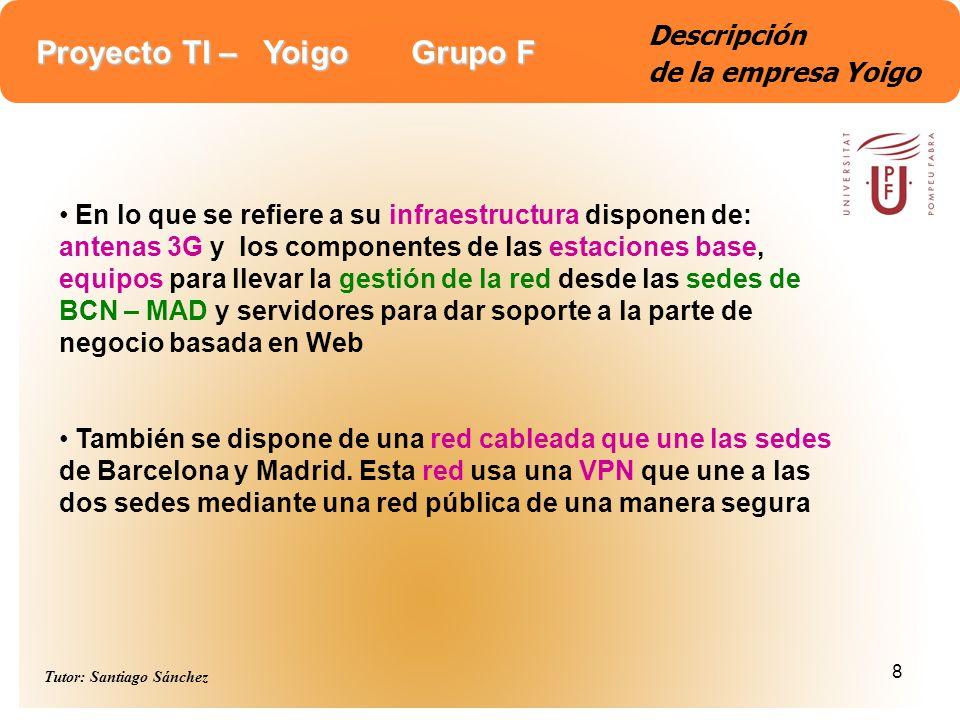 Proyecto TI – Yoigo Grupo F Tutor: Santiago Sánchez 8 Descripción de la empresa Yoigo En lo que se refiere a su infraestructura disponen de: antenas 3
