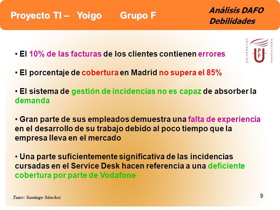 Proyecto TI – Yoigo Grupo F Tutor: Santiago Sánchez 9 Análisis DAFO Debilidades El 10% de las facturas de los clientes contienen errores El porcentaje