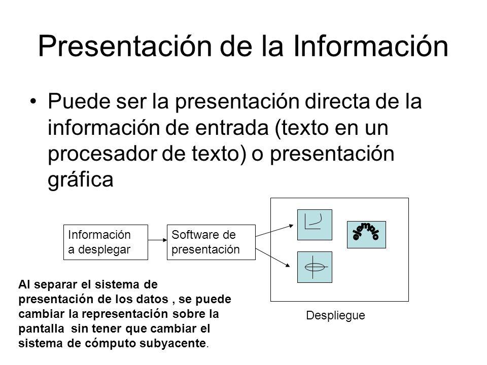 Presentación de la Información Puede ser la presentación directa de la información de entrada (texto en un procesador de texto) o presentación gráfica
