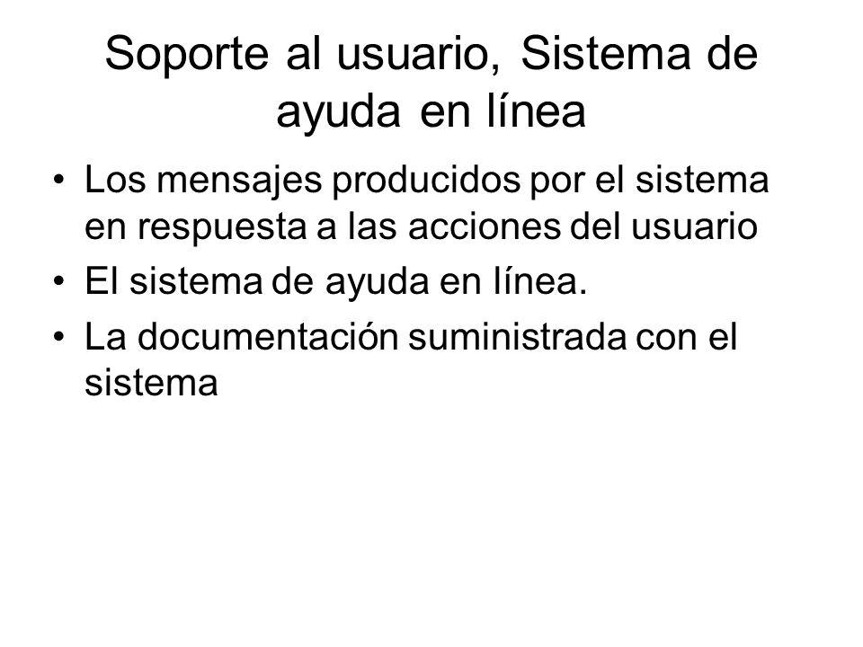 Soporte al usuario, Sistema de ayuda en línea Los mensajes producidos por el sistema en respuesta a las acciones del usuario El sistema de ayuda en lí