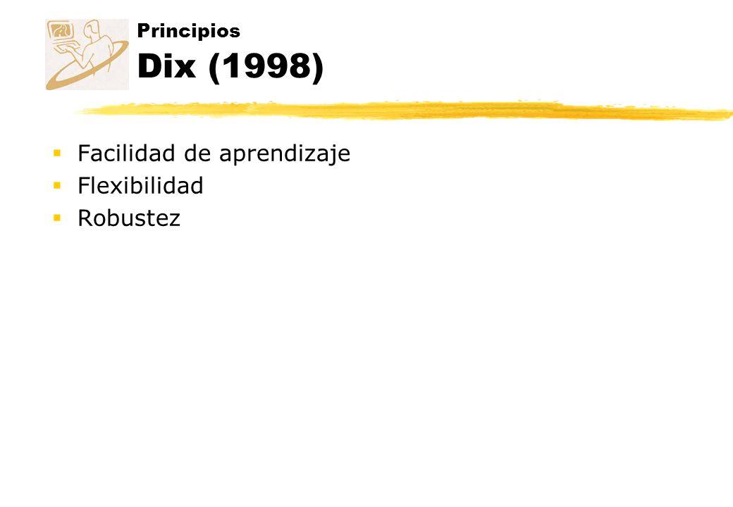 Principios Dix (1998) Facilidad de aprendizaje Flexibilidad Robustez