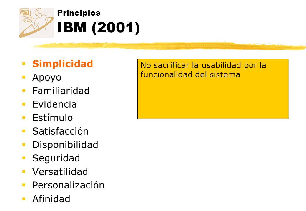Principios IBM (2001) Simplicidad Apoyo Familiaridad Evidencia Estímulo Satisfacción Disponibilidad Seguridad Versatilidad Personalización Afinidad No