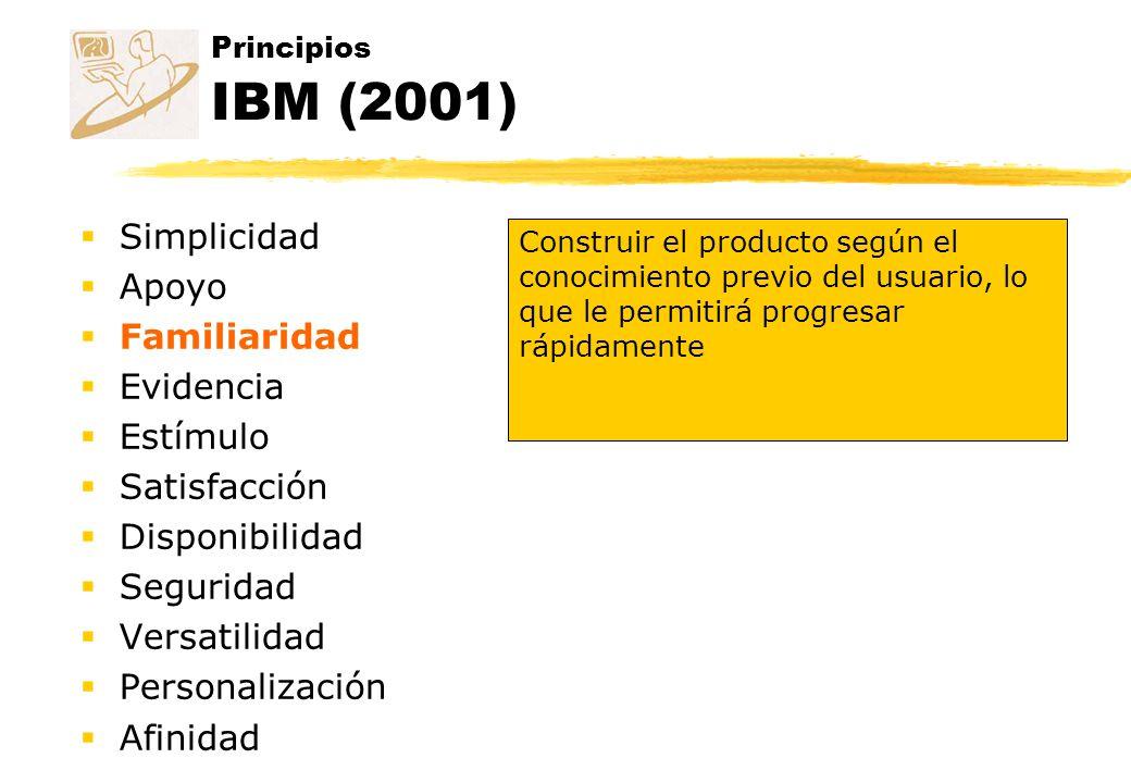 Principios IBM (2001) Simplicidad Apoyo Familiaridad Evidencia Estímulo Satisfacción Disponibilidad Seguridad Versatilidad Personalización Afinidad Co