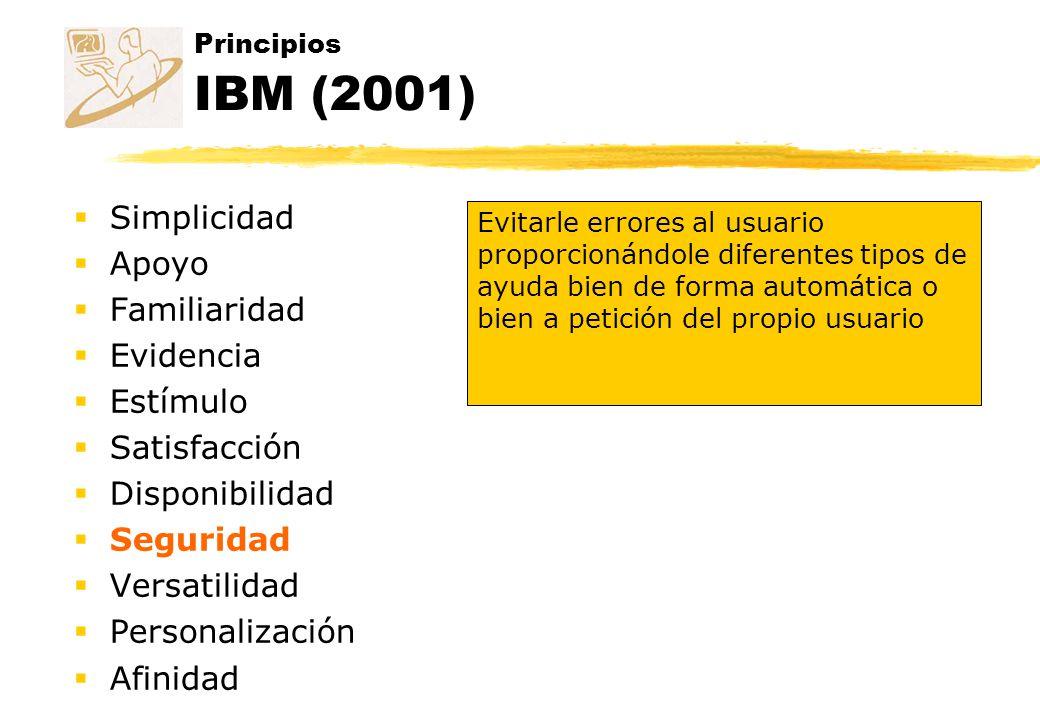 Principios IBM (2001) Simplicidad Apoyo Familiaridad Evidencia Estímulo Satisfacción Disponibilidad Seguridad Versatilidad Personalización Afinidad Ev