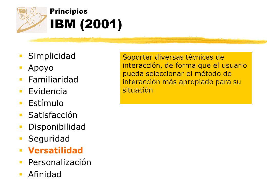 Principios IBM (2001) Simplicidad Apoyo Familiaridad Evidencia Estímulo Satisfacción Disponibilidad Seguridad Versatilidad Personalización Afinidad So