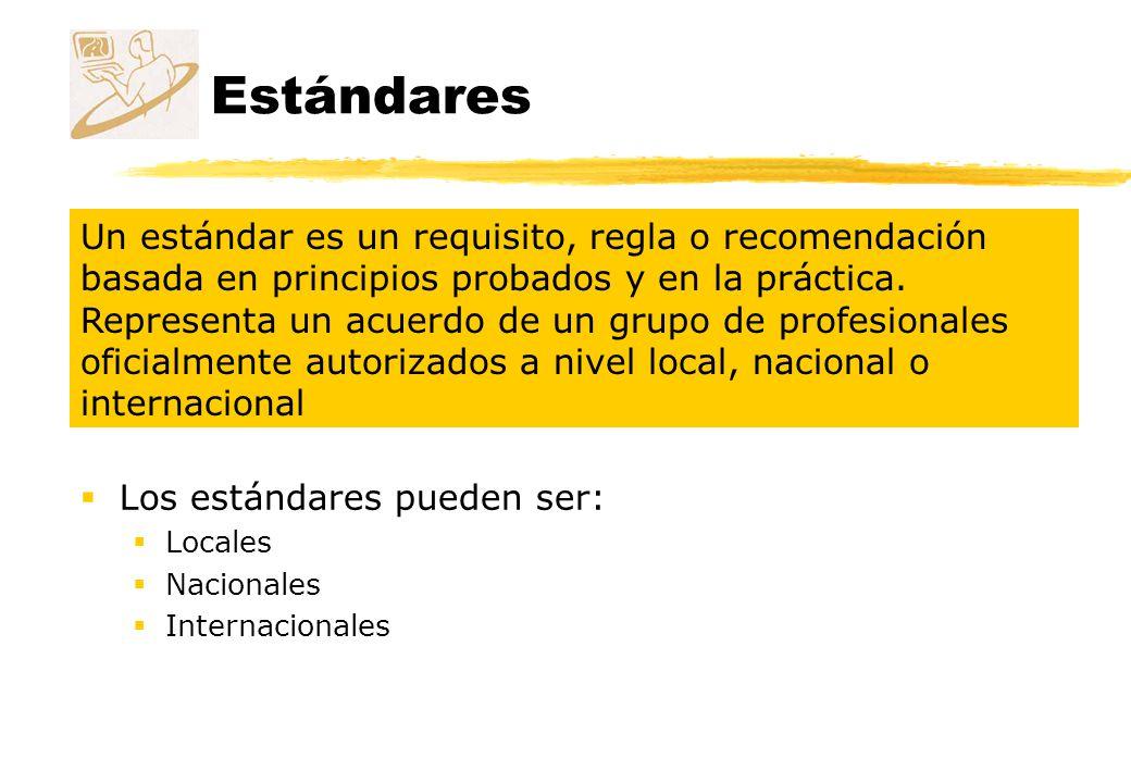 Estándares Los estándares pueden ser: Locales Nacionales Internacionales Un estándar es un requisito, regla o recomendación basada en principios proba