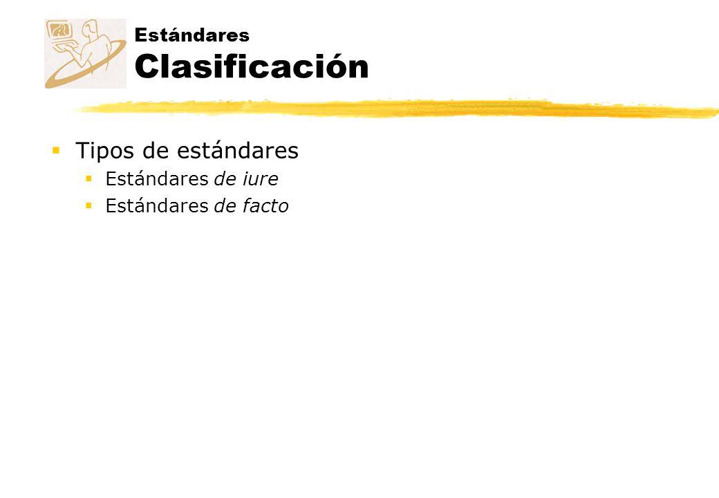 Estándares Clasificación Tipos de estándares Estándares de iure Estándares de facto