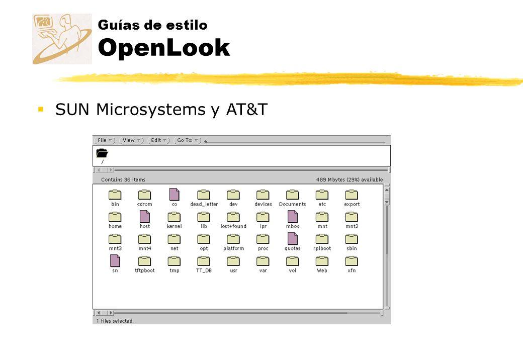 Guías de estilo OpenLook SUN Microsystems y AT&T