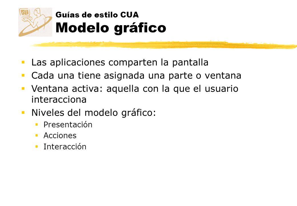 Guías de estilo CUA Modelo gráfico Las aplicaciones comparten la pantalla Cada una tiene asignada una parte o ventana Ventana activa: aquella con la q