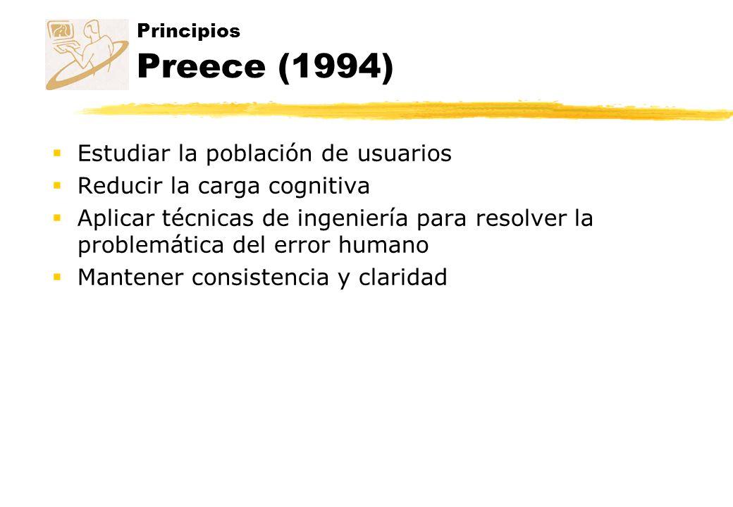 Principios Preece (1994) Estudiar la población de usuarios Reducir la carga cognitiva Aplicar técnicas de ingeniería para resolver la problemática del