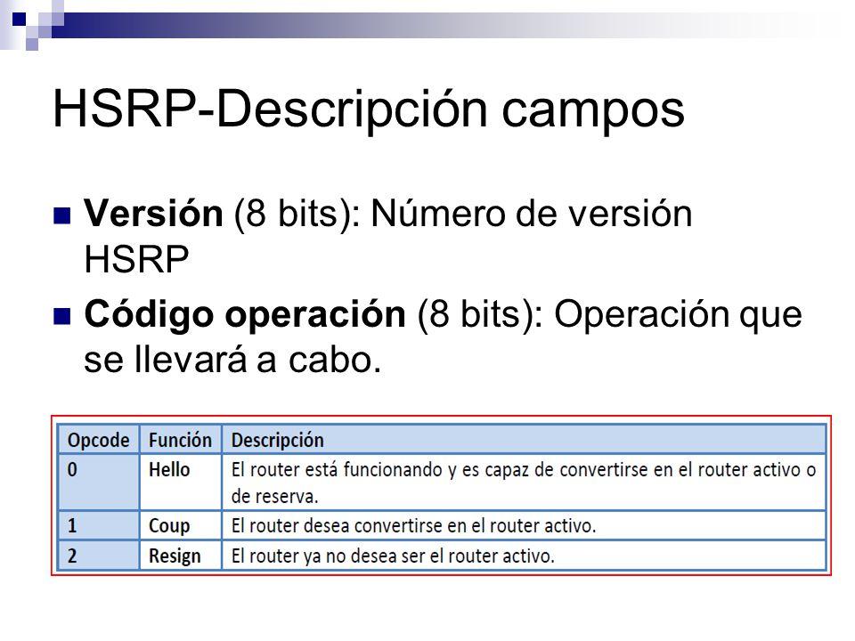 HSRP-Descripción campos Versión (8 bits): Número de versión HSRP Código operación (8 bits): Operación que se llevará a cabo.