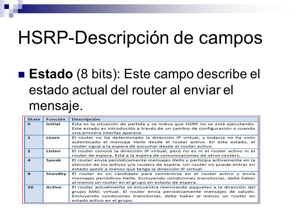 HSRP-Descripción de campos Estado (8 bits): Este campo describe el estado actual del router al enviar el mensaje.
