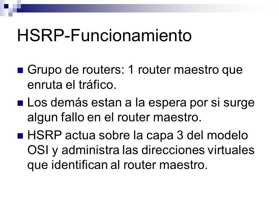 HSRP-Ejemplo práctico Entre los routers del grupo HSRP se intercambian mensajes hello para conocer el estado en el que se encuentran Estos mensajes utilizan la dirección multicast 224.0.0.2 y el puerto UDP 1985