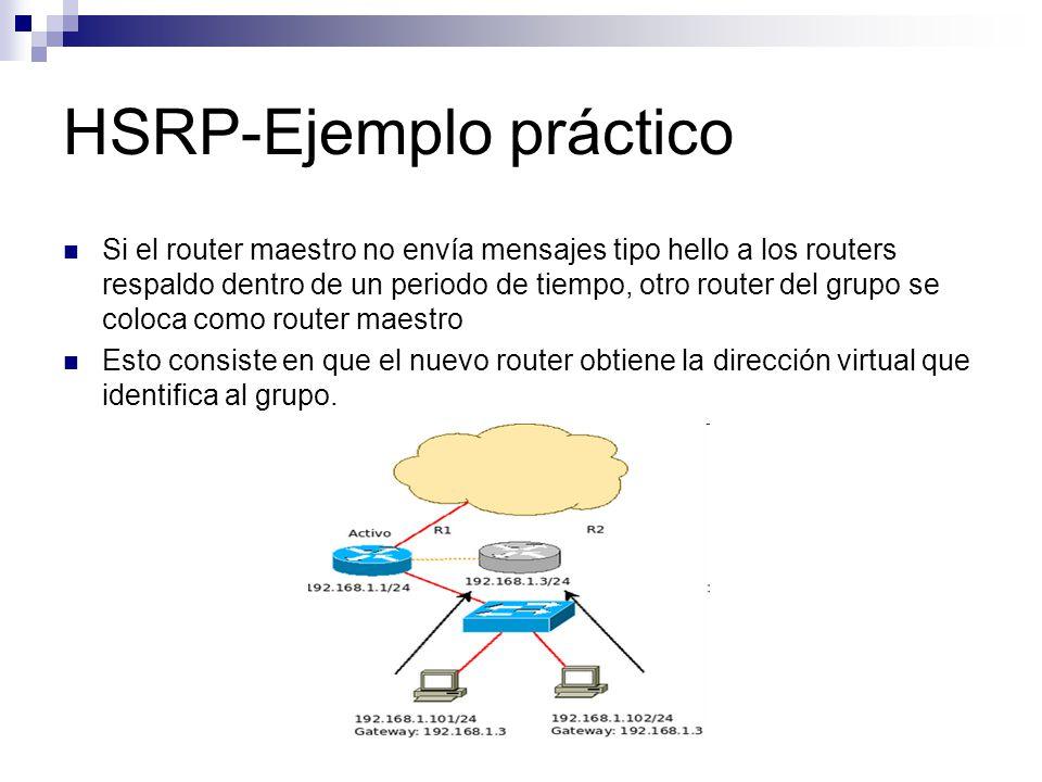 HSRP-Ejemplo práctico Si el router maestro no envía mensajes tipo hello a los routers respaldo dentro de un periodo de tiempo, otro router del grupo s