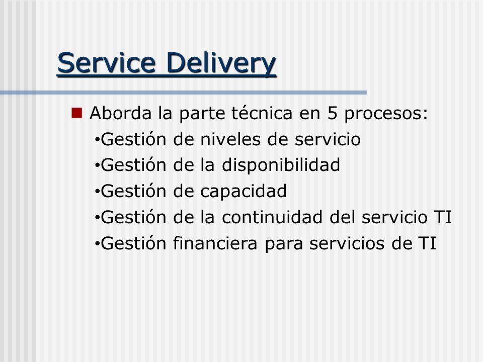 Service Delivery Aborda la parte técnica en 5 procesos: Gestión de niveles de servicio Gestión de la disponibilidad Gestión de capacidad Gestión de la